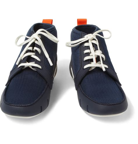 swims rubber and mesh boat shoes lyst swims rubber and mesh hightop boat shoes in blue