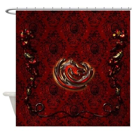 red and gold shower curtain dragon in gold and red shower curtain by fantasyworld10