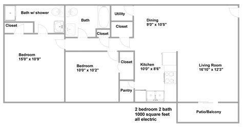 1000 square feet apartment floor plans pricing