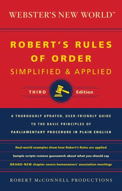 printable version of robert s rules of order webster s new world robert s rules of order simplified and