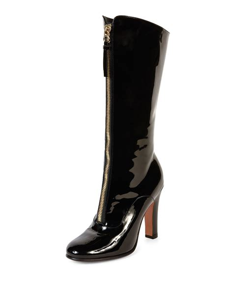 valentino rebelle patent leather mid boots in black lyst