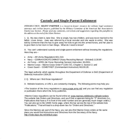 Letter Of Custody Agreement 10 Custody Agreement Templates Free Sle Exle Format Free Premium Templates