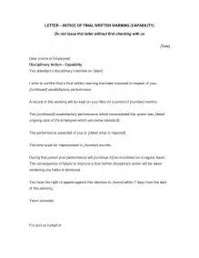written notice letter template best photos of written warning discipline notice