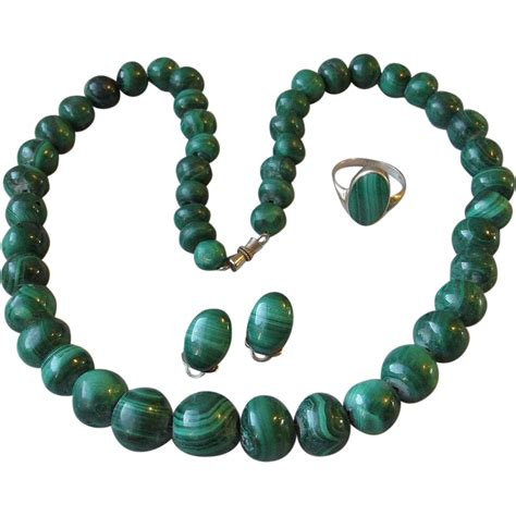 Vintage Malachite Bead Parure Necklace Earrings Ring Set