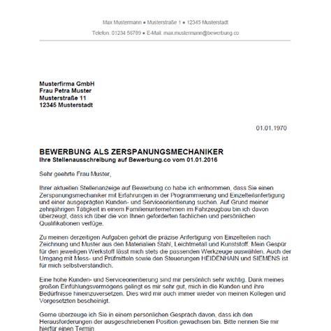 Initiativbewerbung Anschreiben Facharbeiter Bewerbung Als Zerspanungsmechaniker Yournjwebmaster