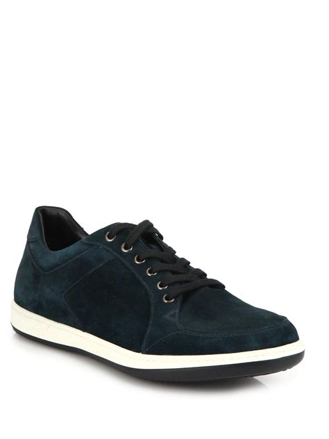 armani sneakers mens giorgio armani suede sneakers in blue for lyst