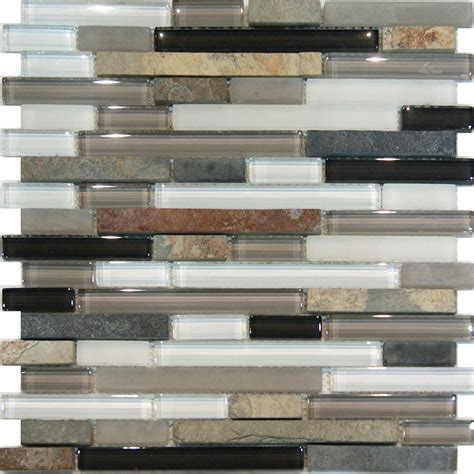 Mosaic Glass Backsplash Kitchen 1sf Slate Glass Gray White Linear Mosaic Tile Backsplash Kitchen Spa Ebay