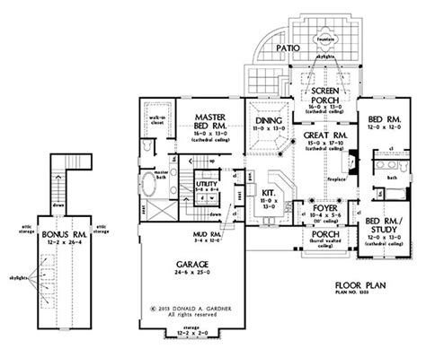 nice house plans with bonus room 14 ranch house plans dw plan nice porch basement stair option of the