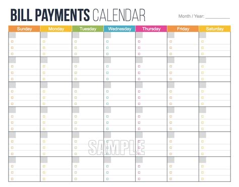 Bill Payments Calendar Editable Personal Finance Monthly Bills Template Pdf