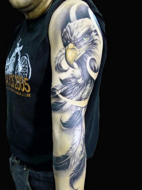 eagle quarter sleeve tattoo 70 feather tattoo designs for men masculine ink ideas