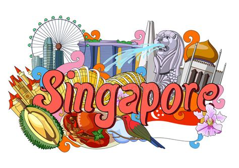 doodle artist malaysia doodle showing architecture and culture of singapore stock
