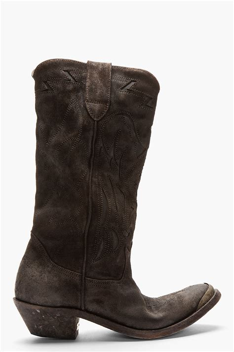 golden goose boots golden goose deluxe brand brown suede embroidered