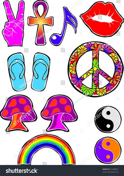imagenes hippies vector retro happy hippie set 2 flower stock vector 74289874