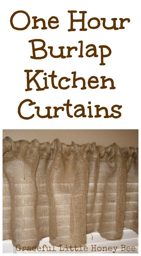 how to make burlap curtains without sewing one hour burlap kitchen curtain tutorial graceful little