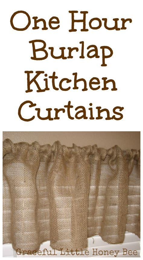 One Hour Burlap Kitchen Curtain Tutorial   Graceful Little