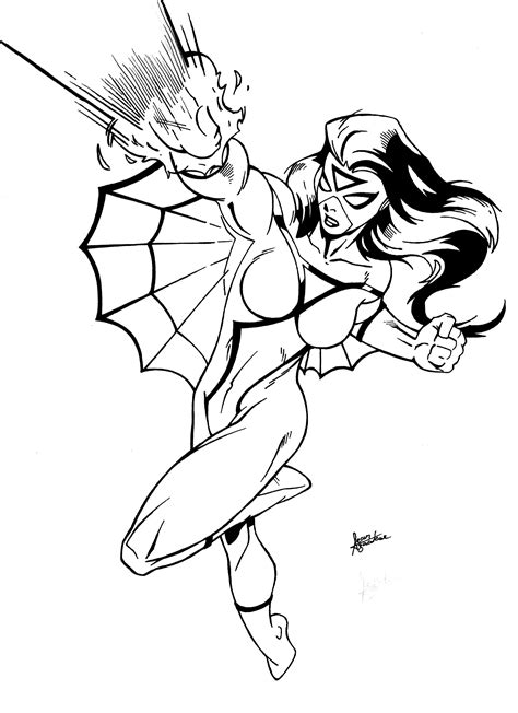 coloring pages of spider girl spiderwoman inks by sean izaakse on deviantart