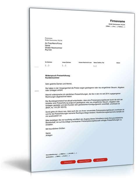 Musterbriefe Widerspruch musterbrief widerspruch strompreiserh 246 hung wg steuern