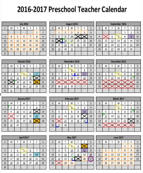6 Teacher Calendar Templates Free Downloadable Sles Exles And Formats Sle Templates Free Preschool Calendar Templates 2017