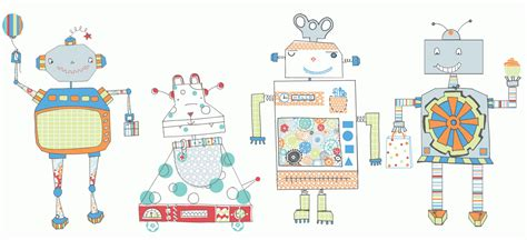 Papercraft Inspiration - draws robots for papercraft inspirations