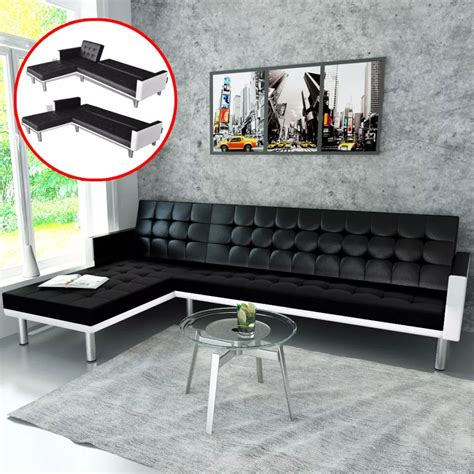 black and white l shaped l shaped sofa bed adjustable black white vidaxl