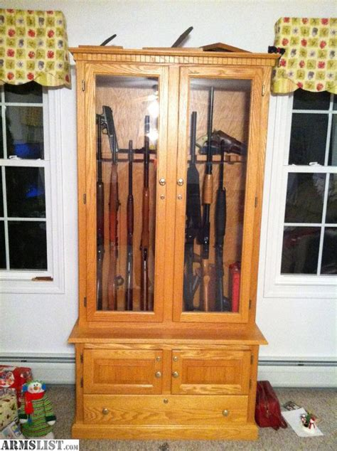 solid wood gun cabinet armslist for sale solid wood oak gun cabinet 765
