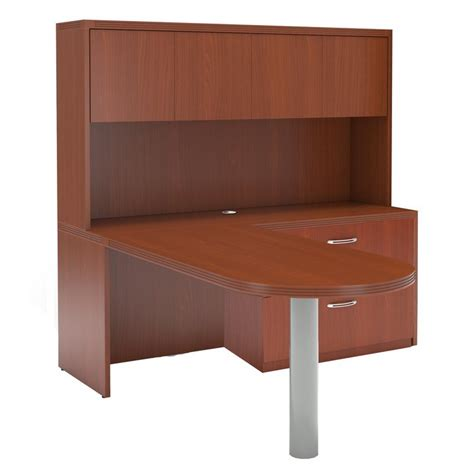 l shaped peninsula desk mayline aberdeen l shaped peninsula desk in cherry at24lcr