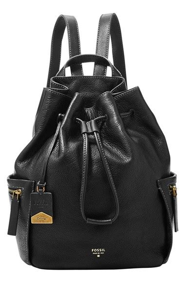 Fossil Drawstring Large Black fossil vickery large drawstring leather backpack in black lyst