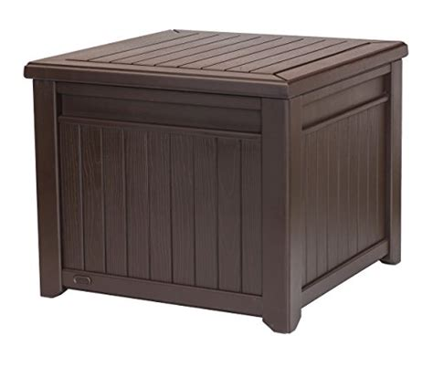 keter 55 gallon storage table keter cube wood look 55 gallon all weather garden patio