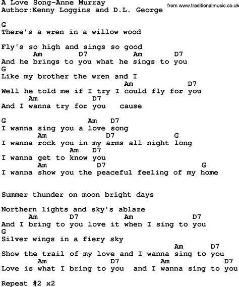 Country Music A Love Song Anne Murray Lyrics And Chords