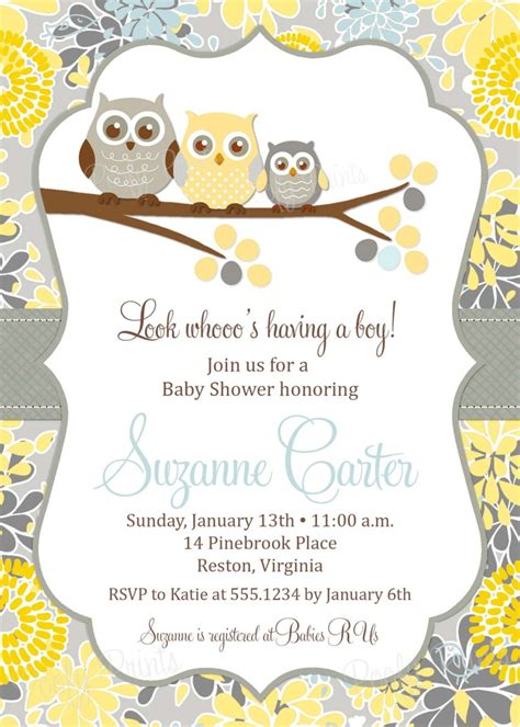 owl baby boy shower invitation printable baby shower invitation digital invitation with free