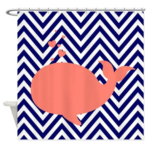 navy white chevron curtains navy chevron with coral whale shower curtain by
