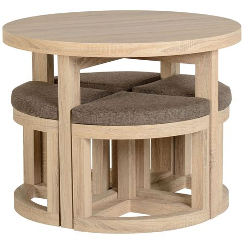 Sonoma Oak Veneer Round Dining Table And Chair Set With 4 Circular Oak Dining Table And Chairs