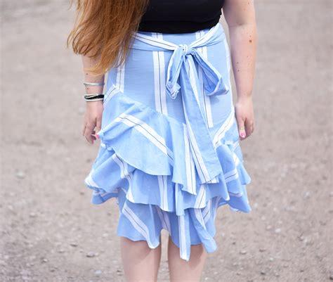 striped midi skirt with frill detail jacquardflower