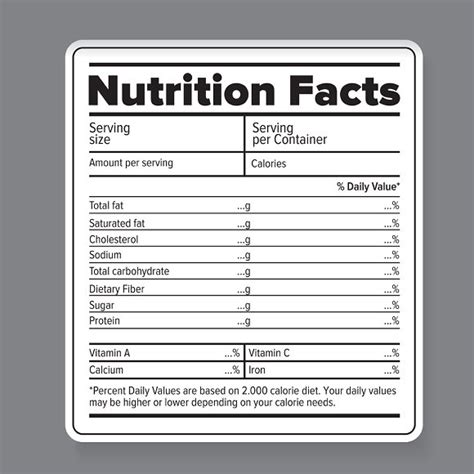 Nutrition Facts Vector Label Objects Creative Market Ingredients Label Template