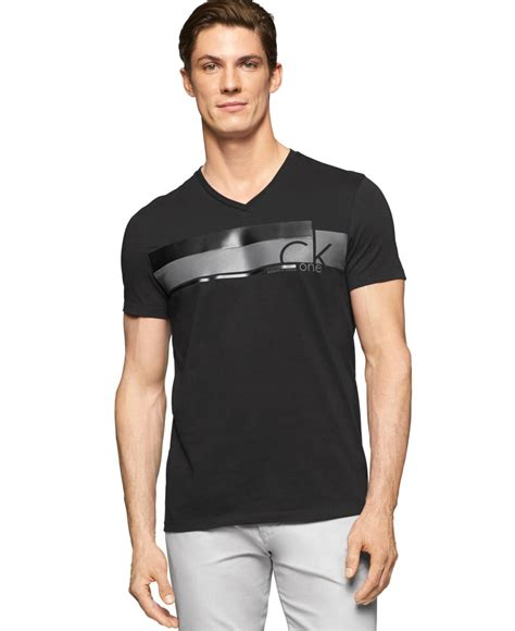 Neck Slim Fit T Shirt lyst calvin klein v neck slim fit t shirt in black for