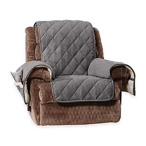 sherpa recliner cover buy sure fit 174 reversible flannel and sherpa recliner cover