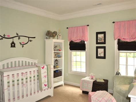 pink and green nursery adding color and pattern with window valances window