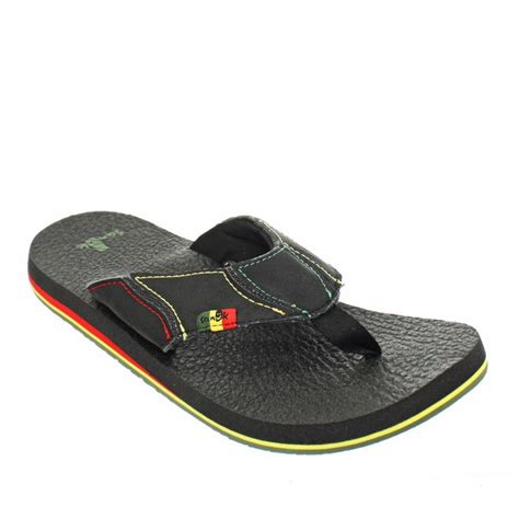 12 Flip Flops by Mens Sanuk Fault Line Irie Rasta Black Flip Flops Sandals