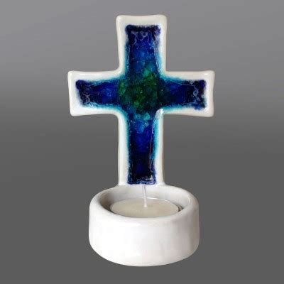 Handmade Glass Candle Holders - handmade glass candle holder 5 inches high crosses and