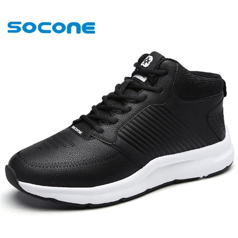 2016 new socone comfortable running shoes warm leather