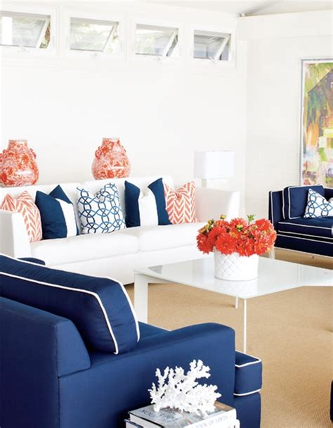 navy and coral living room decorating with complementary colors centsational