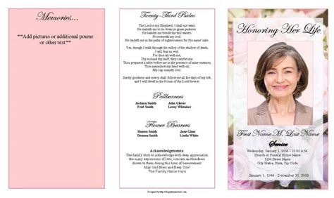 Free Funeral Program Template Publisher by Funeral Program Template Trifold Pastel Memories Funeral