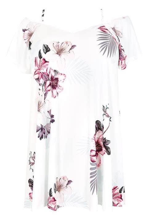 white pink floral palm cold shoulder jersey cami top