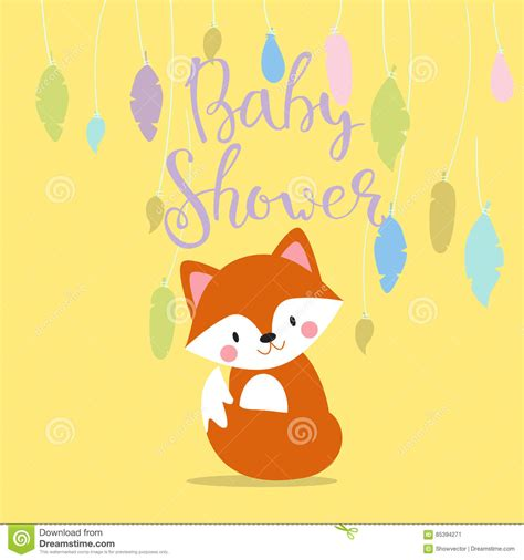 Baby Shower Invitation Vector Card Stock Vector Image 85394271 Fox Baby Shower Invitation Template
