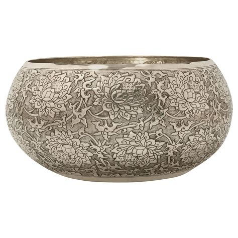large worked solid silver bowl scrolling lotus motif