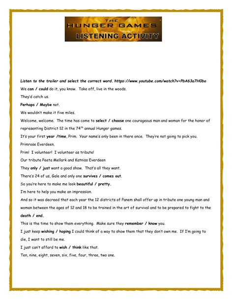 printable hunger games quiz worksheets hunger games worksheets atidentity com free