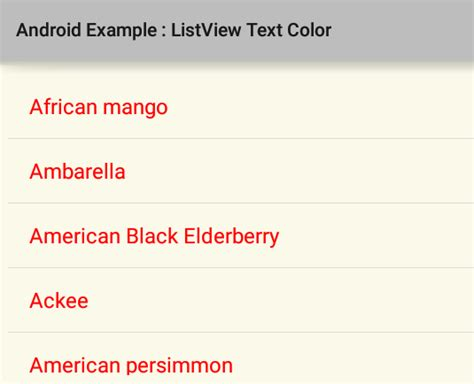 android layout text color how to change listview item text color in android