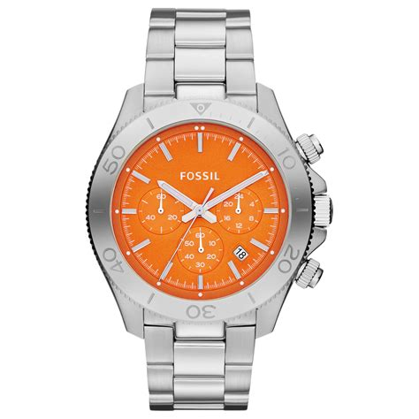 Fossil Chrono Stopwatch Silver Chain fossil mens chronograph retro traveler stainless steel bracelet 44mm in silver for no color