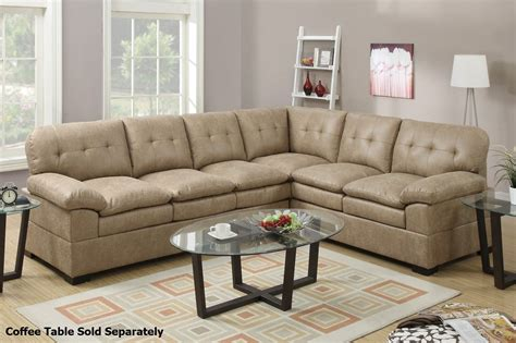 tyson couch poundex tyson f7684 brown fabric sectional sofa steal a