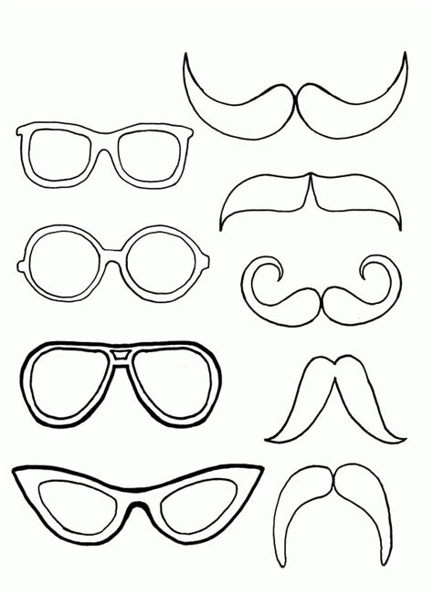 mustache coloring pages for kids and for adults